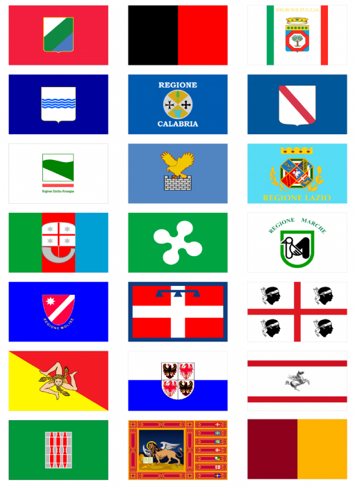 All 20 Italian Regions Flag Stickers 21 Per Sheet