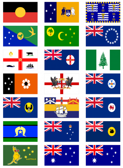 All 8 Australian States Flag Stickers 21 Per Sheet