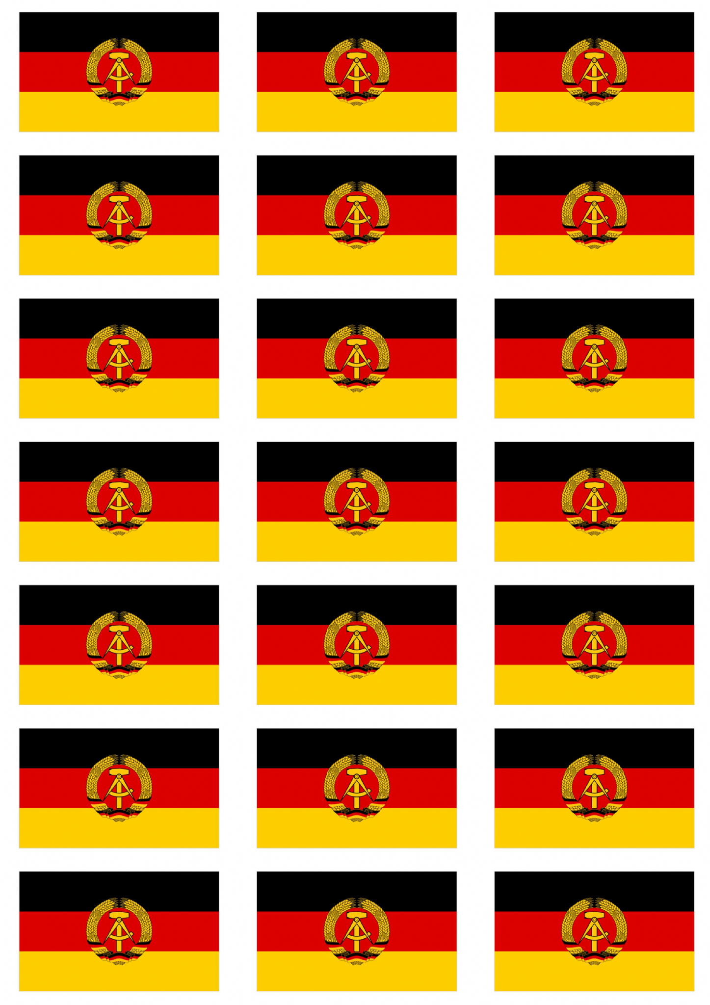 East Germany Flag Stickers 21 Per Sheet
