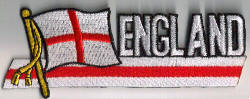England Embroidered Flag Patch, style 01.
