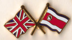 Great Britain and Costa Rica Friendship Flag Pin Badge