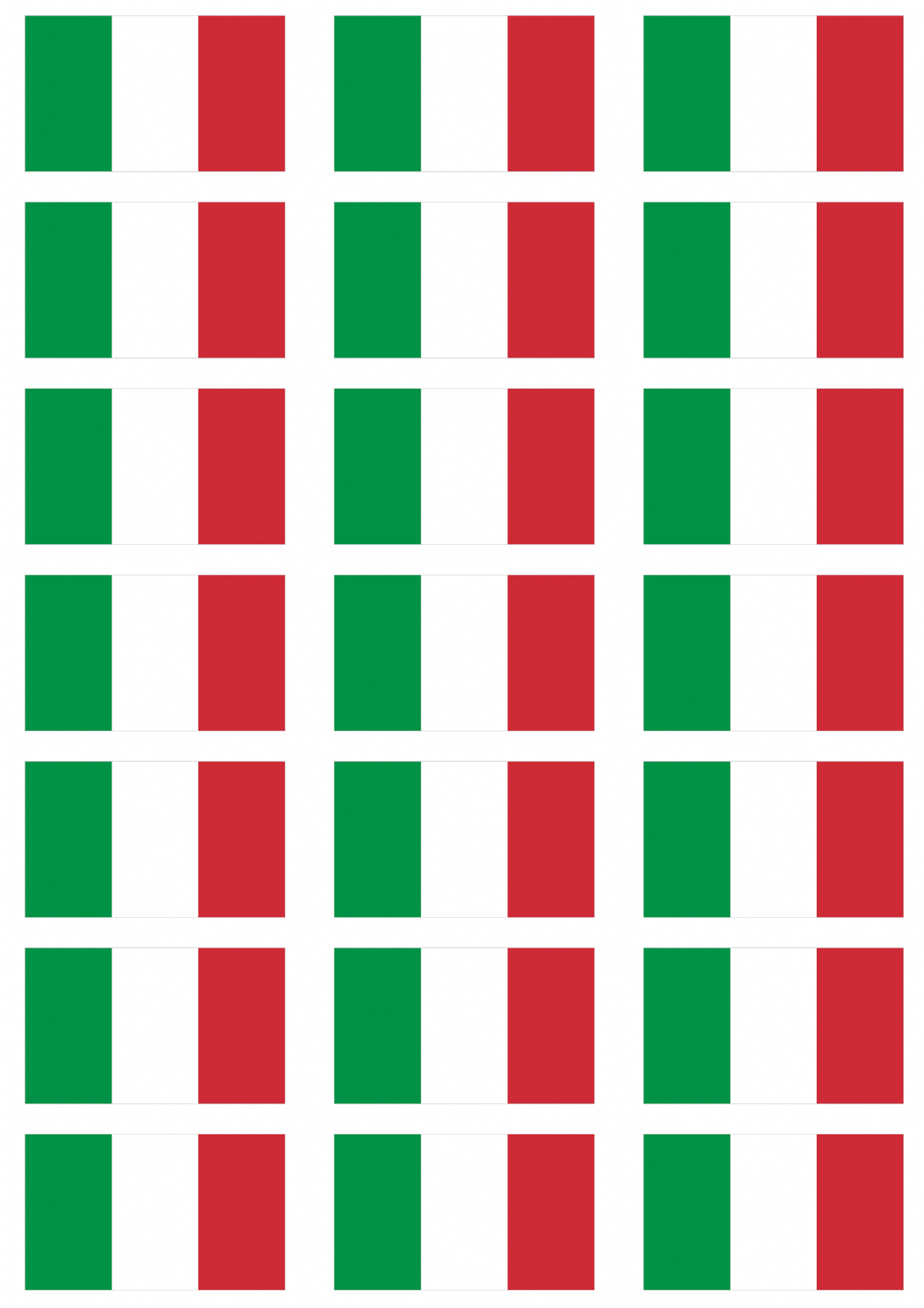 Italy Flag Stickers 21 Per Sheet