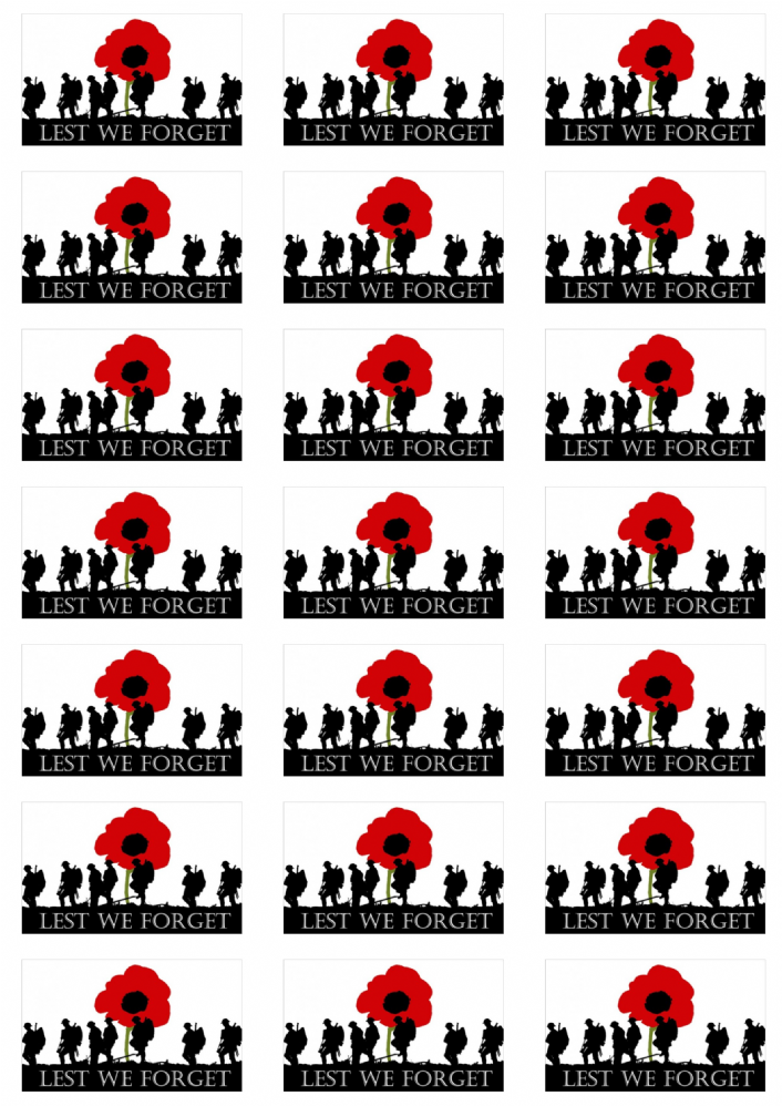 Lest We Forget Army Stickers 21 Per Sheet