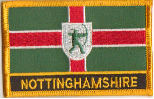 Nottinghamshire Embroidered Flag Patch, style 09