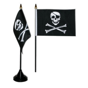 Pirate Skull and Crossbones Desk / Table Flag with plastic stand and base.