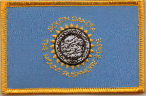 South Dakota Embroidered Flag Patch, style 08.