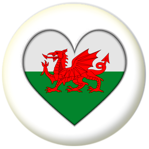 wales country flag heart 25mm pin button badge