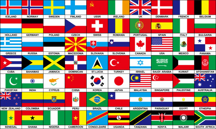 70 countries large flag 5 x 3