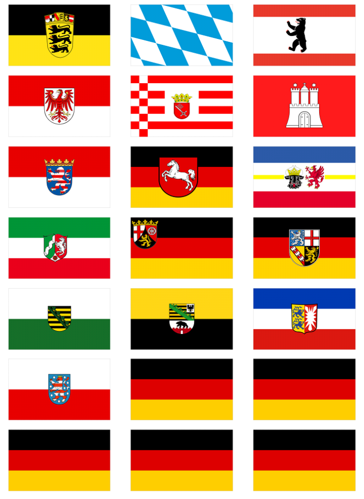 All 16 German States Flag Stickers 21 Per Sheet