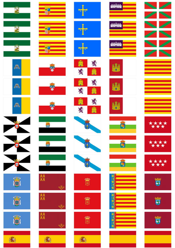 All 19 Spanish Regions Flag Stickers 65 Per Sheet