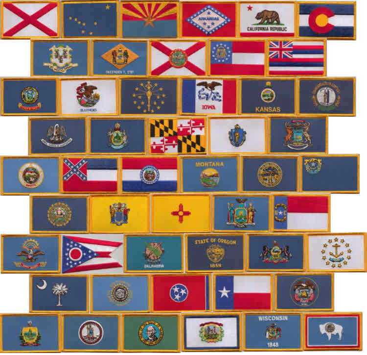 All 50 US State Embroidered Flag Patches Style 08