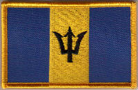 Barbados Embroidered Flag Patch, style 08.