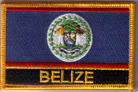 Belize Embroidered Flag Patch, style 09.