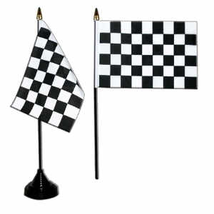 Black / White Check Desk / Table Flag with plastic stand and base.
