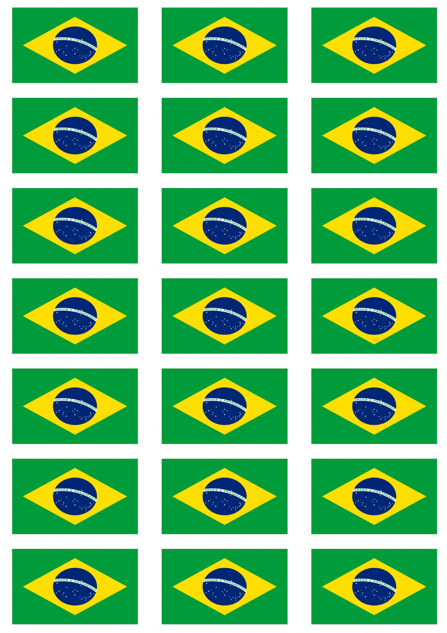 Brazil Flag Stickers 21 Per Sheet