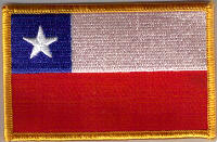Chile Embroidered Flag Patch, style 08.