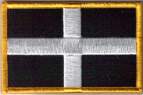 Cornwall Embroidered Flag Patch, style 08.