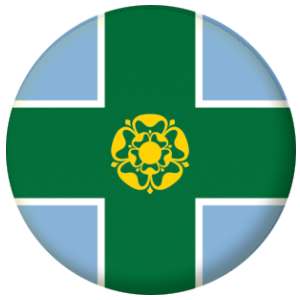 Derbyshire County Flag 25mm Button Badge