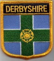 Derbyshire Embroidered Flag Patch, style 07.