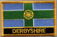 Derbyshire Embroidered Flag Patch, style 09.