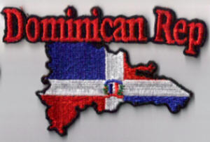Dominican Republic Embroidered Flag Patch, style 05.