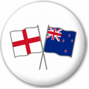 England and New Zealand Friendship Flag 25mm Pin Button Badge