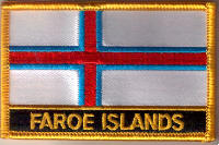 Faroe Islands Embroidered Flag Patch, style 09.