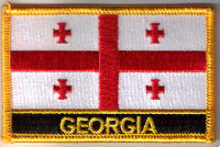 Georgia Embroidered Flag Patch, style 09.