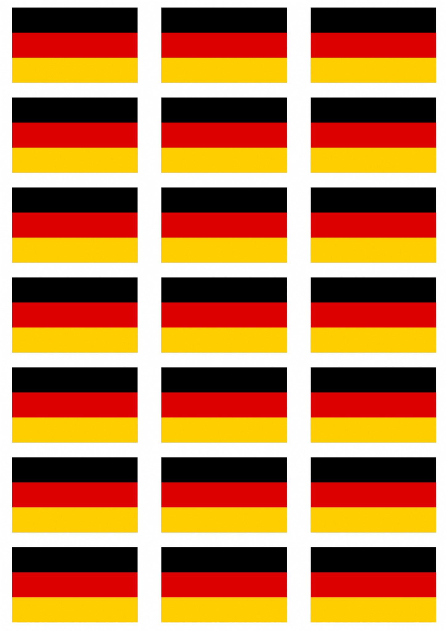 Germany Flag Stickers 21 Per Sheet