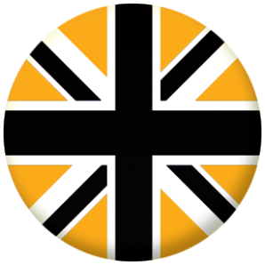 Great Britain Black and Gold Flag 25mm Pin Button Badge
