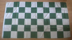 Green and White Checkered Large Flag - 5' x 3'.