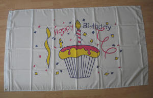 Happy Birthday Cake Large Flag - 5' x 3'.