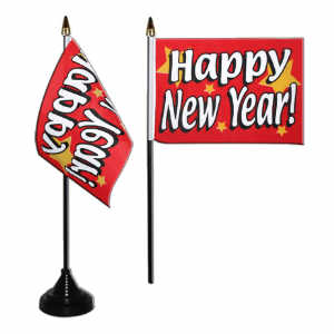 happy new year desk table flag with plastic stand and base