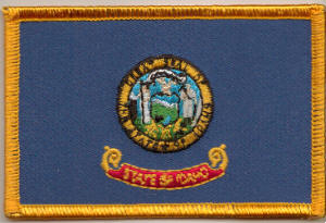 Idaho Embroidered Flag Patch, style 08.