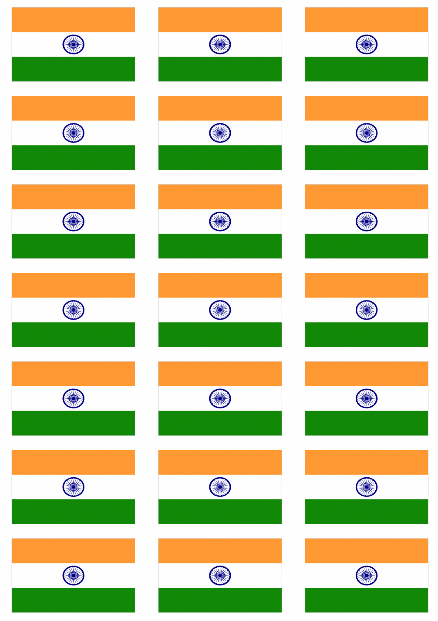 India Flag Stickers 21 Per Sheet