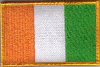 Ivory Coast Embroidered Flag Patch, style 08.