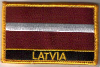 Latvia Embroidered Flag Patch, style 09.
