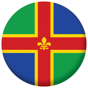Lincolnshire County Flag 25mm Flat Back