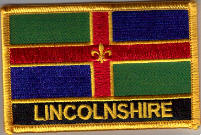 Lincolnshire Embroidered Flag Patch, style 09.