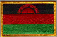 Malawi Embroidered Flag Patch, style 08.
