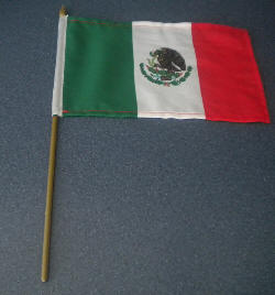 Mexico Country Hand Flag.