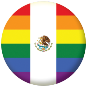 Mexico Gay Pride Flag Button Badge