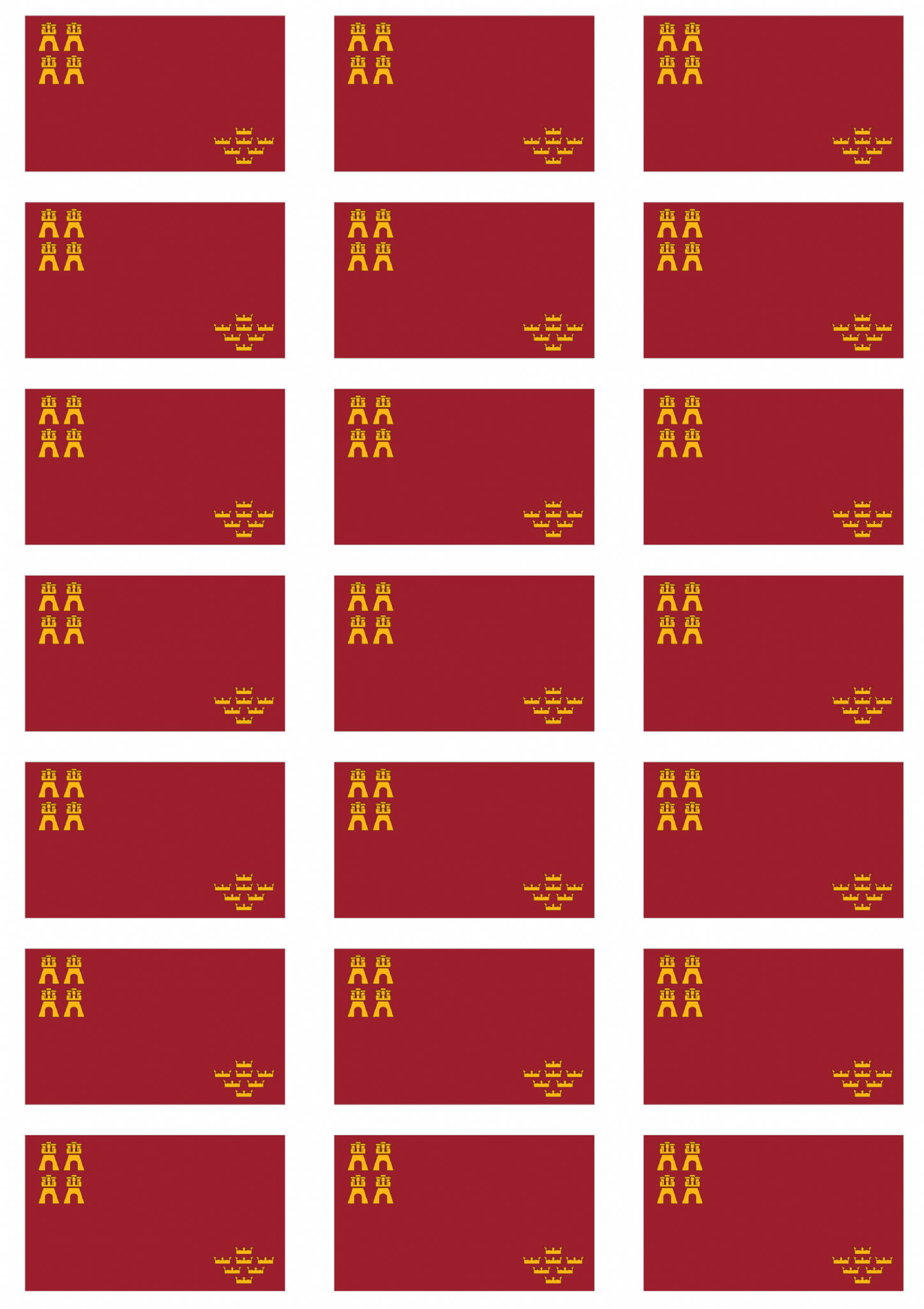 Murcia flag stickers 21 per sheet