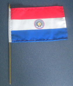 Paraguay Country Hand Flag.