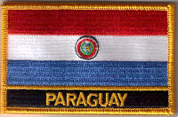 Paraguay Embroidered Flag Patch, style 09.