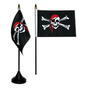 Pirate Red Bandana Desk / Table Flag with plastic stand and base.