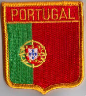 Portugal Embroidered Flag Patch, style 06.