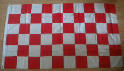 Red and White Checkered Large Flag - 3' x 2'.