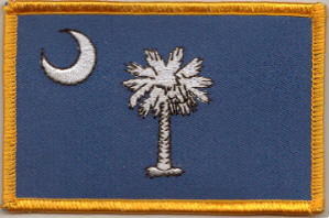 South Carolina Embroidered Flag Patch, style 08.