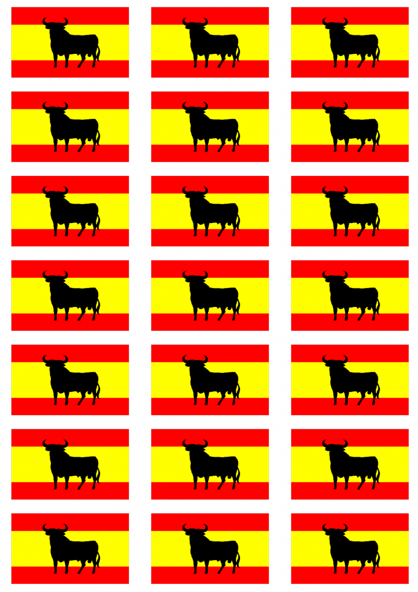 Spain bull flag stickers 21 per sheet